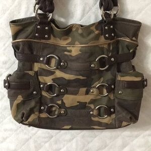 Camo leather hobo bag
